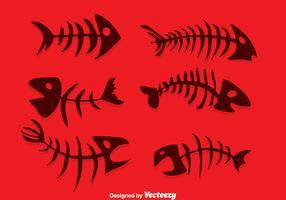 Silueta, vector de espina de pescado