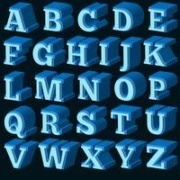 Fuente vector azul 3d
