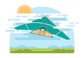 Homme libre sur Hang-Glider Vector Illustration