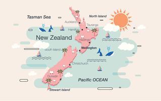 Vector de mapa de Nueva Zelanda