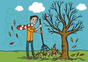 Man Raking Fall Leaves Vector