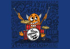 Crazy Monster Drummer Vector