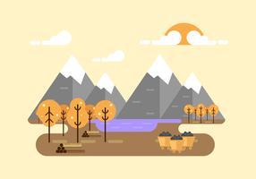 Vector de los resorces naturales del carbón y de la madera