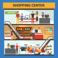 Three Floor Shopping Center Vector Illustration