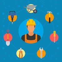 Vectores de trabajador de construcción plana