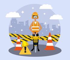 Vecteur de travailleur de construction mâle gratuit