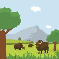 Flat Wild Life Vector Background