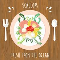 Scallops for Lunch Illustration Vector