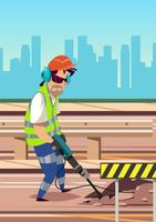 Worker With Pneumatic Equipment vector