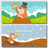 Greeting Cards With A Happy Gopher vector