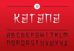 Japanesse-Buchstaben Katana geben Vektor frei
