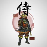 Japanese Letters Samurai With Abstract Element Vector Illustration