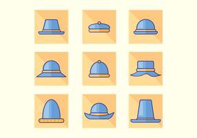 Vecteurs de chapeau bleu plat