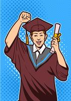 Excited Young Man with Diploma Vector