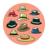 Kostenlose bunte Panama Hats Collection Vector