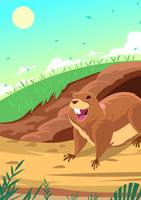 Gopher In Front Of Its Hole vector