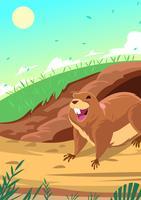 Gopher vor seinem Loch