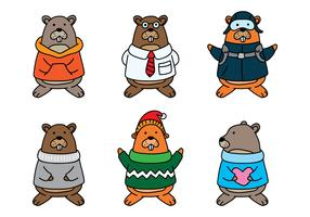 Gopher Cartoon Set