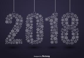 2018 Happy New Year Illustration And Snowflakes vector