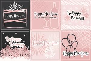 Millennial Pink Vector Winter Cards