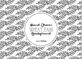 Seamless Hand Drawn Wheat Ear Vector Pattern