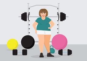 Fat Woman Exercising Vector