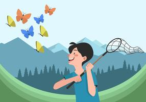 The Man Catches The Butterfly With A Net Vectior Illustration