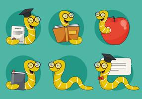 Bookworm Character Vector Illustration