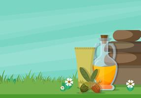 Jojoba Leaves, Seeds And Oil Vector Illustration