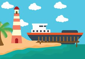 Boardwalk with Cruiseship Background Vector
