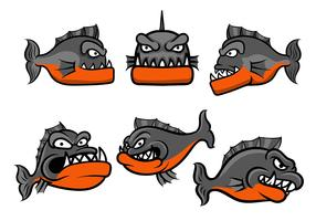 vecteur de badge piranha