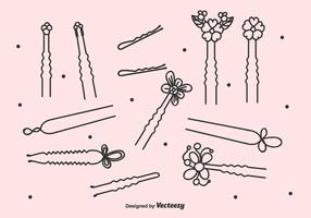 Black Hair Pins Vector Set