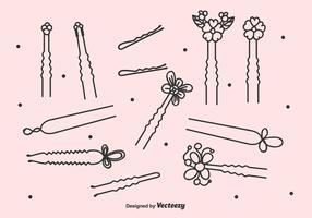 Schwarze Haare Pins Vektor festgelegt
