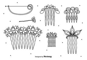 Hand Drawn Hair Pins Vector Set
