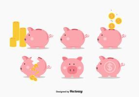 Piggy Bank Vector Set