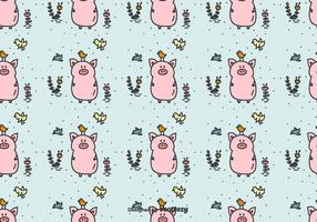 Pig And Birds Vector Pattern