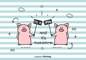 Doodle Pigs Vector Illustration