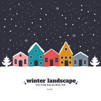 Fondo de Vector de paisaje de invierno