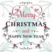 Christmas And New Year Typographical Vector