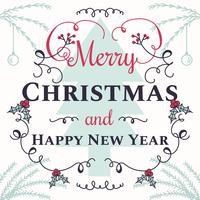 Jul och nyår Typografisk Vektor