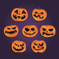 Free Scary Halloween Pumpkins Vector