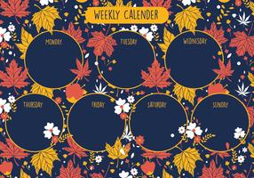 Botanical Printable Weekly Calendar Vector