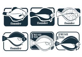 Vectores de platija de pescado fresco