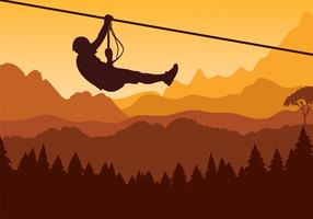 Mountain Zipline Pine Gratis Vector