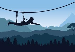 Blå Sunset Zipline Gratis Vector