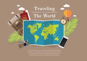 Mapas globales viajando vector libre