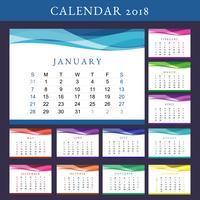 Afdrukbare kalender 2018 Vector