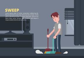 Man Sweeping Illustration