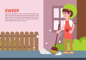Woman Sweeping Illustration