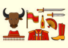 Set Of Bull Fighter Icon